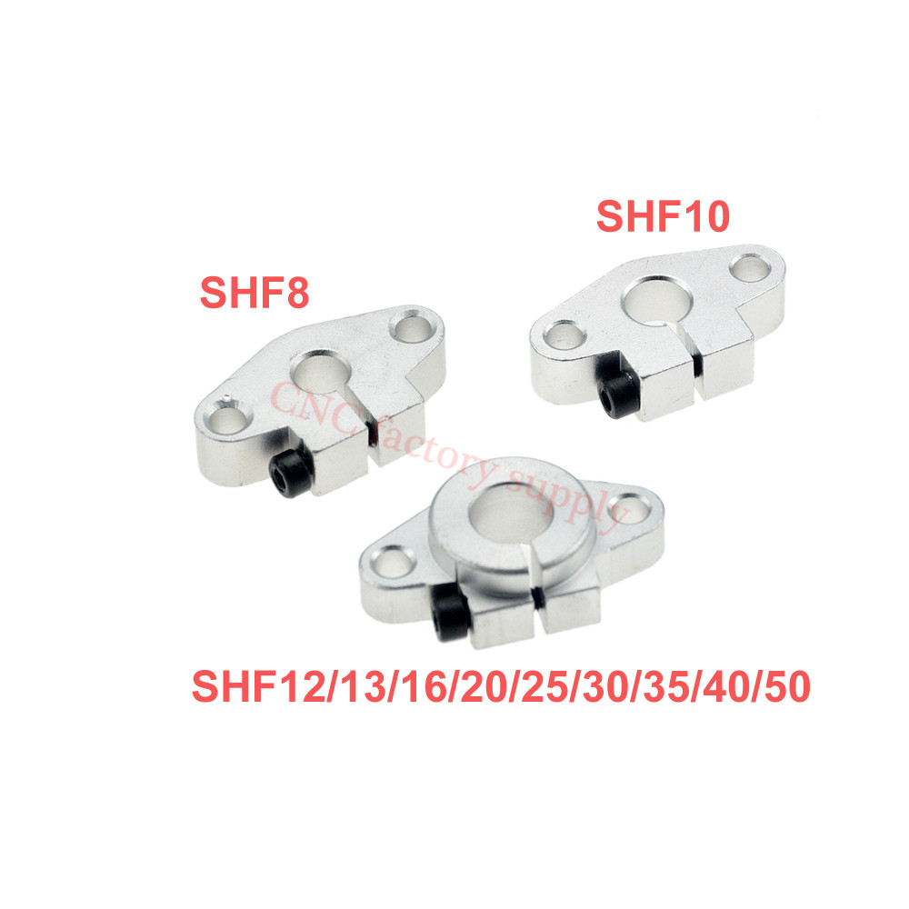 Hot sale 1pc SHF8 SHF10 SHF12 SHF13 SHF16 SHF20 SHF25 SHF30 8mm linear rail shaft support XYZ Table CNC Router 3D printer Part axk shf8 shf10 shf12 shf16 bearing shaft support for 8mm 10mm 12mm 16mm rod round shaft support diy xyz table cnc 3d printer
