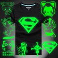 Fluorescent plus size 4XL luminous T-shirt superman chopper one piece t shirt men women hip hop glow in dark t shirt