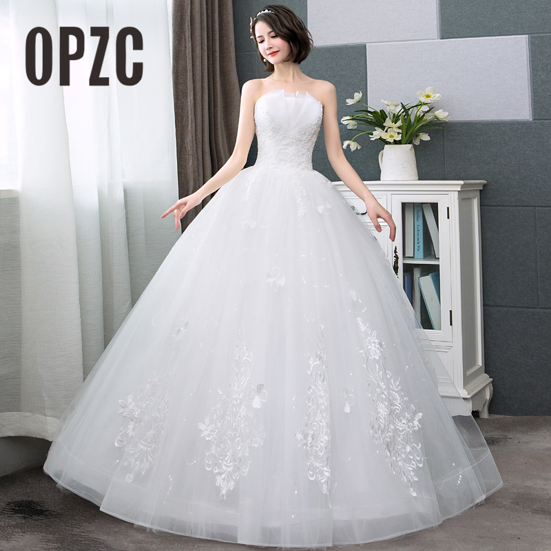 Real Photo Hot Sale Korean Lace Up Ball Gown Cheap Wedding Dresses 2018 New Fashion Claasic