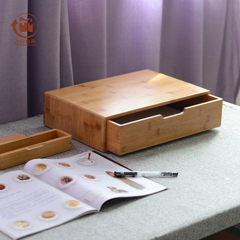 Grande boîte en bambou bureau papier rangement boîte cadeau fait à la main de haute qualité carré montre bijoux organisateur affichage 36 cm 23 cm 9 cm