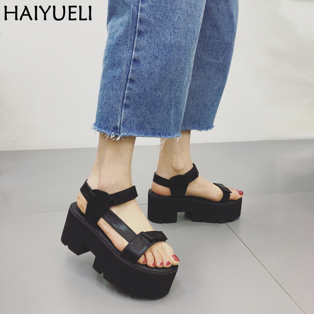 aca9ef3f77 Women's Platform Flat Sandals Fashion Summer Thick Platform Creeper Gladiator  Sandals Women Casual Shoes Black Womens Sandals