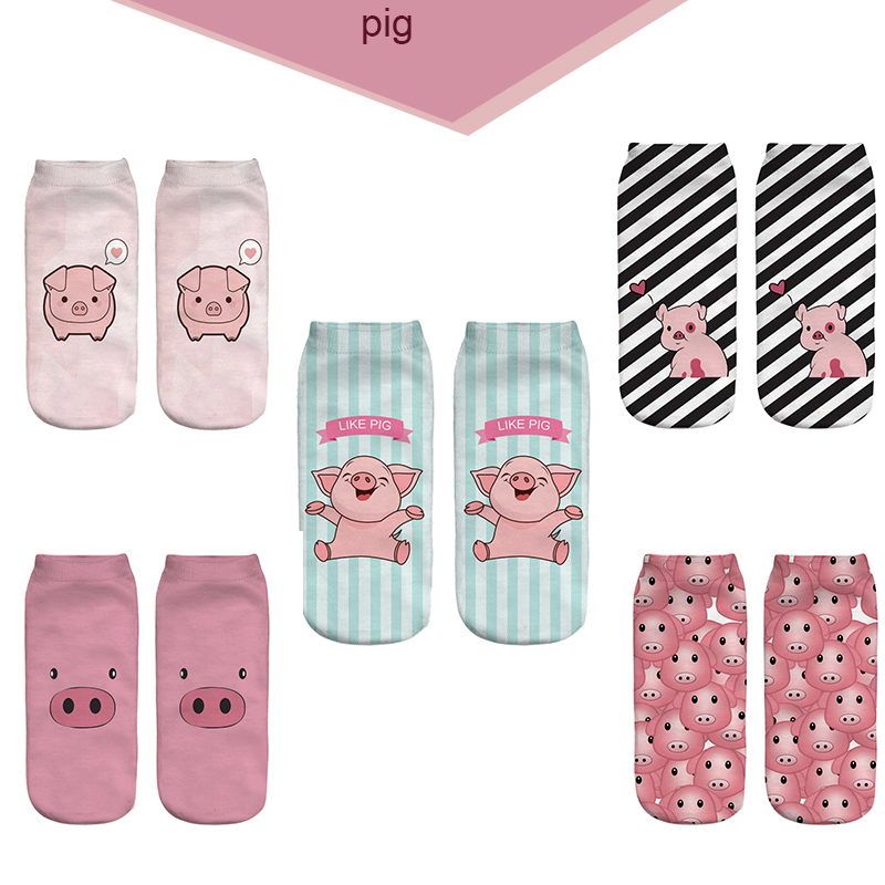 2018 New 3D Printed Pink Pigling Animal Pet Mini Pig Funny Cute Cotton Short Ankle Socks For Women Ladies Harajuku Korean Socks