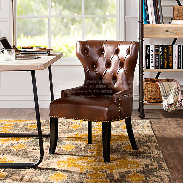 [Brand Group] odd ranks yield Dayton series of solid wood furniture Hanni American PU Leather Buckle Chair Chair