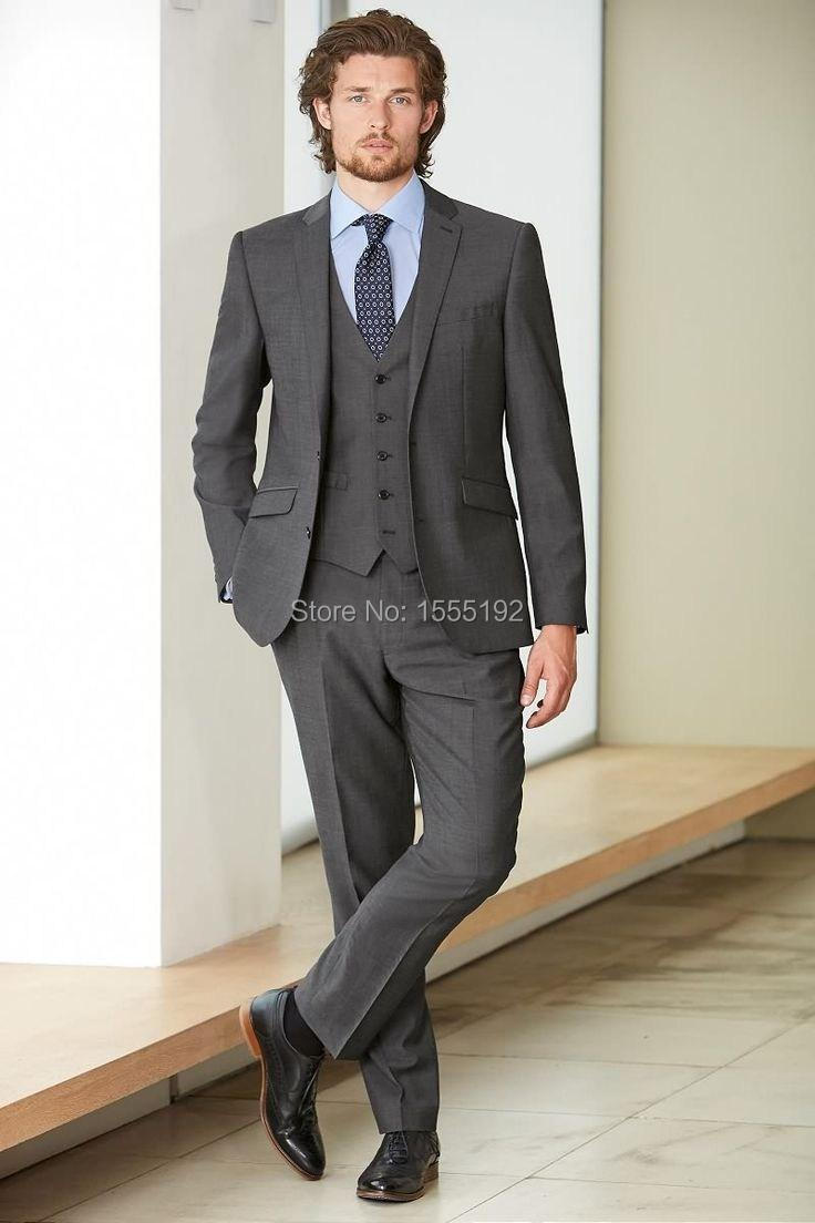 2015 New Charcoal Groom Tuxedos Wedding Suit For Men Designers ...