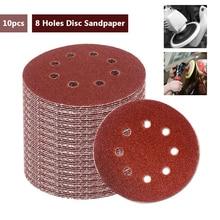 SWDPORT 10 Uds 5 pulgadas 125mm papel de lija redondo disco de ocho agujeros hojas de arena grano 40 2000 gancho y bucle disco de lijado Abravise