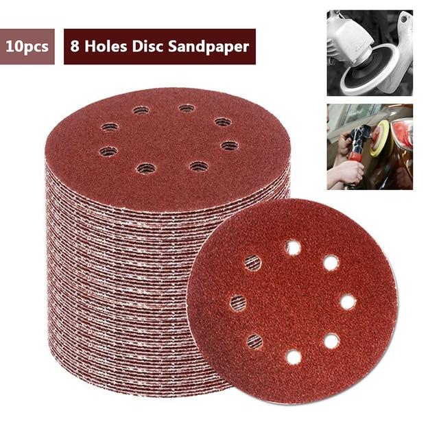 SWDPORT 10 adet 5 inç 125mm yuvarlak zımpara sekiz delikli Disk kum levhalar Grit 40 2000 cırt cırt zımpara disk lehçe aşındırıcı