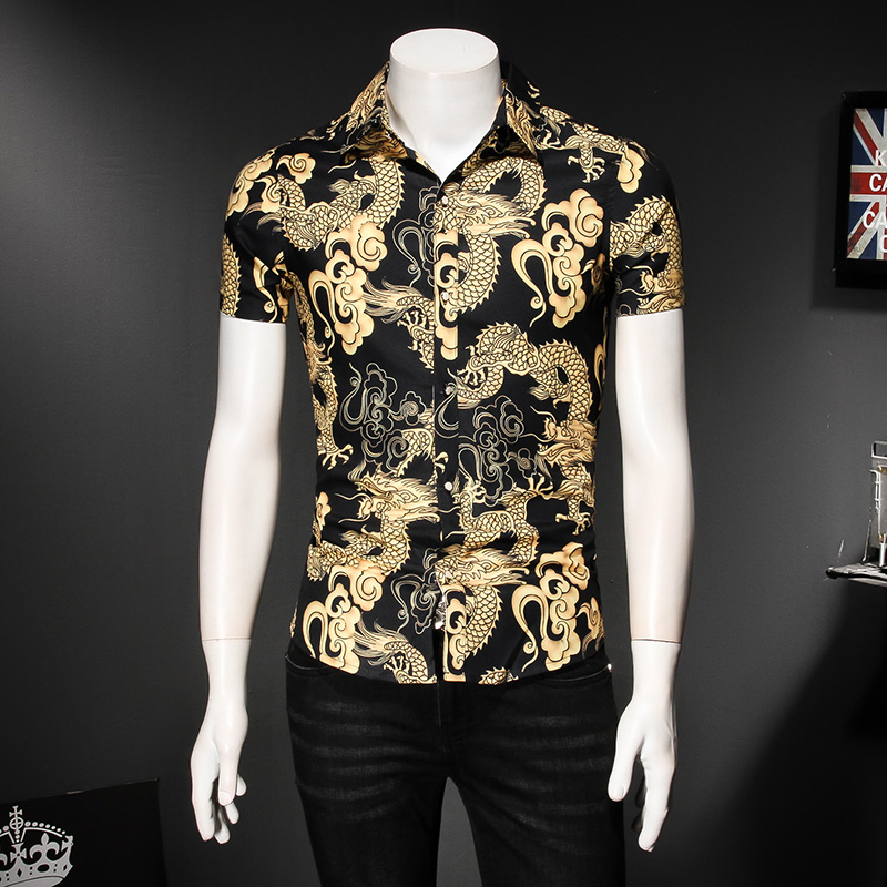 2018 Summer Men Shirt Brand Designer Chinese Dragon Print Social Shirts Men Short Sleeve Slim Fit Turn Down Collar Blouses 5XL-M ...