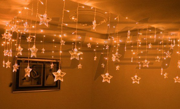 Delightful Wholesale And Retail Christmas Lights/setting Wall Decoration (0.75 * 8  Meters Golden Star