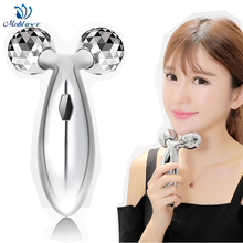 3D Roller Facial Massager Y-Shape Mini Thin Face Slimming Lifting Tightening 360 Degree Rotation Anti Aging Wrinkle Removal Tool