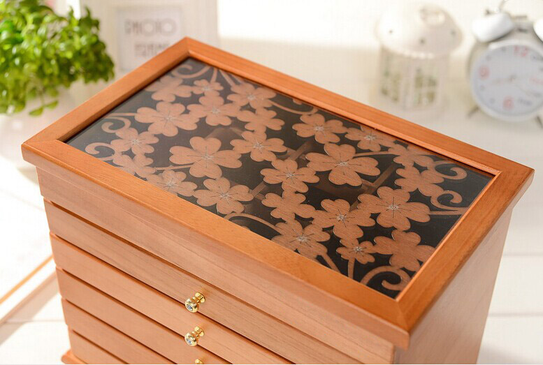 Top Fashion Jewelry Box Carved Organizer Organizador Solid Wood Cosmetic Box Storage Princess Decoration Eco-friendly Rectangle