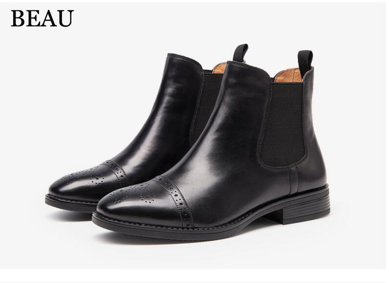 New BEAU TODAY winter leather women boots Fashion 2017 pointed Chelsea boots women solid Martin Female