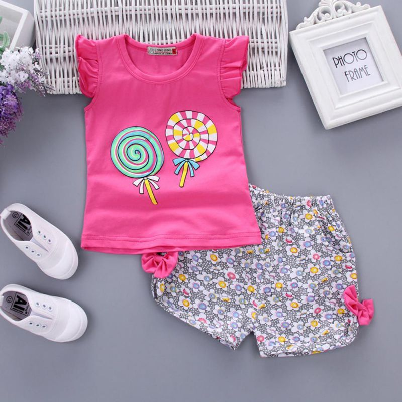 WEIXINBUY Kids Girls Summer Clothes Set Print Partten T-shirt Tops+Bow Floral Shorts 2pcs Set Toddler Baby Outfits 1-4Y 2pcs children outfit clothes kids baby girl off shoulder cotton ruffled sleeve tops striped t shirt blue denim jeans sunsuit set