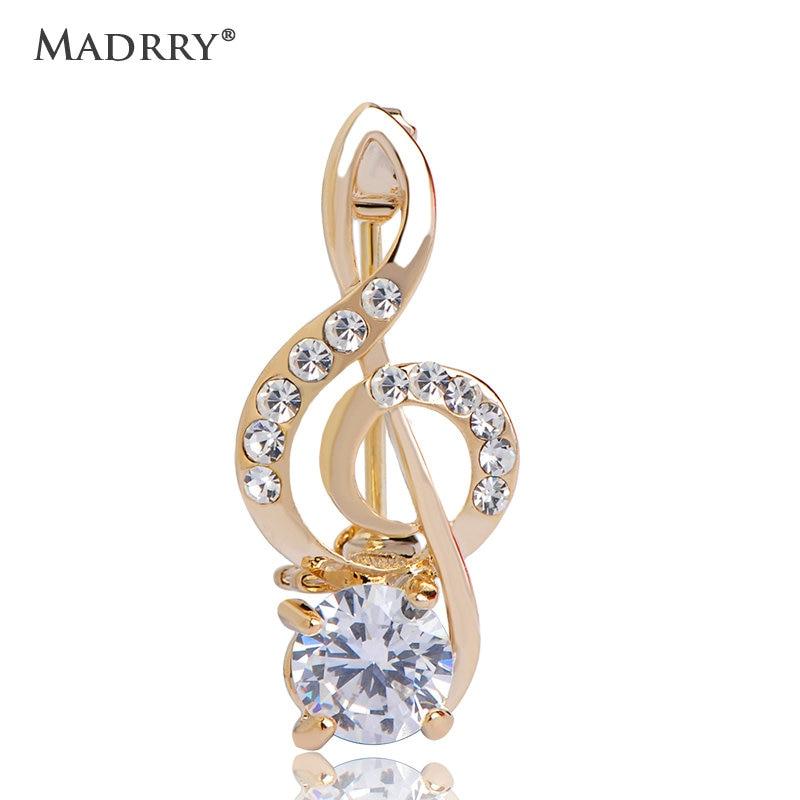 Music Note Design Brooches High Quality Crystal CZ Zircon Rhinestone Broches Broach Fashion Jewelry Bijoux Feminino Accessories