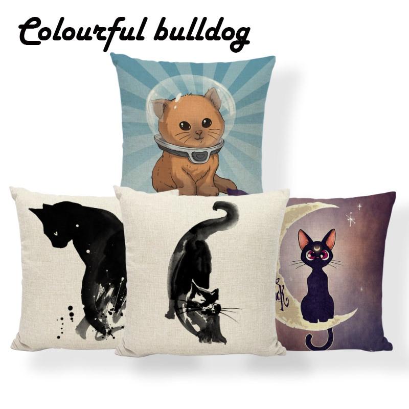 Cushion Cover Home & Garden no Filling Funda Cojin Wholesale Cotton Linen Yellow Cartoon Animal Decorative Pillows 18x18inch Pillowcase
