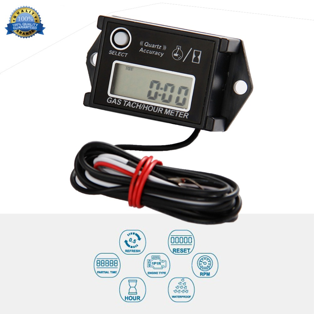 Digital Hour Tachometer RPM Counter for Snowmobile Skis Motor Bike Go Kart Lawn Mower RL-HM026