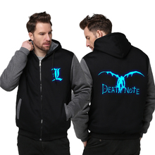 Plus Size Adult Men/Women Luminous Death Note Jackets Winter Zipper Thicken Fleece Hoodies & Sweatshirts Free shipping