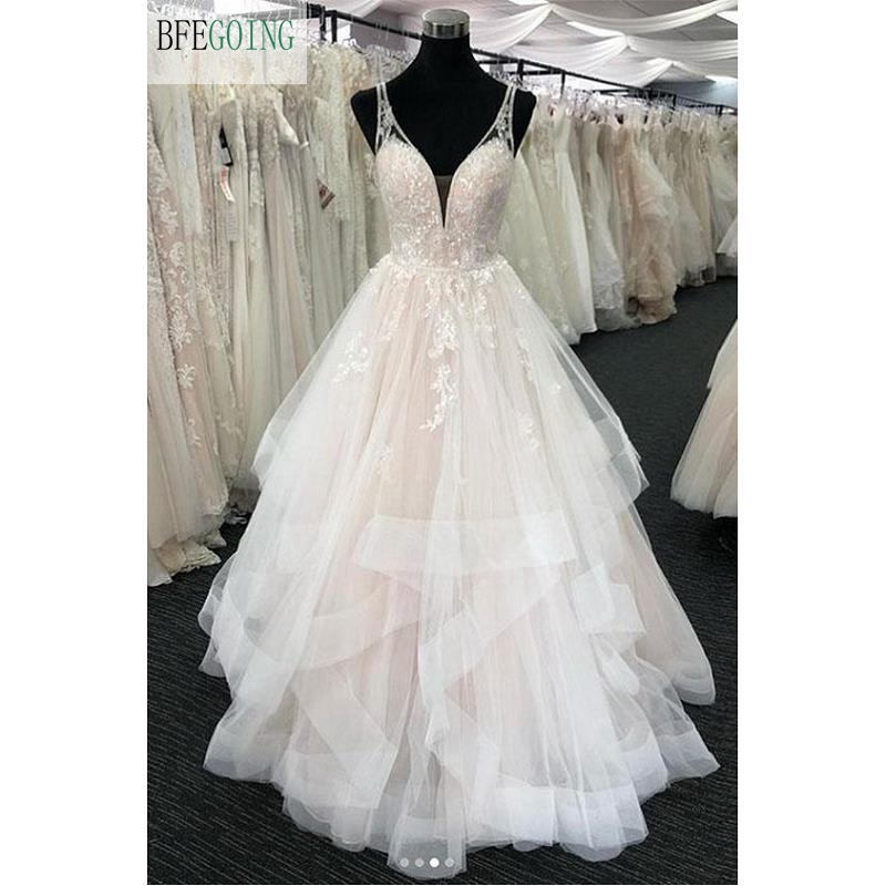 Ivory Lace Appliques Tulle Beading Lace V-Neck  Sleeveless Spaghetti Straps   A-line  Floor-Length Wedding Dresses  Bridal Gown