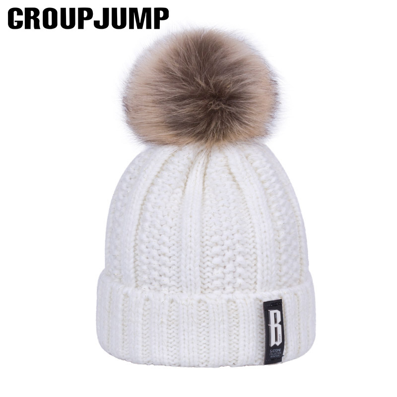 2017 Fashion Women Knitted Winter Hats Warm Cotton Skullies Beanies Pompoms Winter Caps For Women Winter Thick Beanies Caps skullies