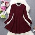 [Alphalmoda] 2017 Весна Женщин Новый Перл Dress Diamond Decored Бисер Воротник-Line цельный Воланами Dress 3 цвета