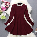 [Alphalmoda] 2017 Spring Women New Pearl Dress Diamond Decored Beads Collar A-line One-piece Flounced Dress 3colors