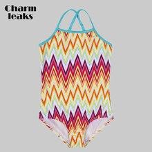 Charmleaks Girls' One Piece Swimsuits Flower Print Swimwear Kids Cute Bikini Adjustable Strap Beach Wear