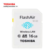 TOSHIBA FlashAir W-03 WIFI SD Card 16G 32G Class10 Flash Memory SD Card WIFI Download Photo Video TO Phone For CANON NIKON etc(China)