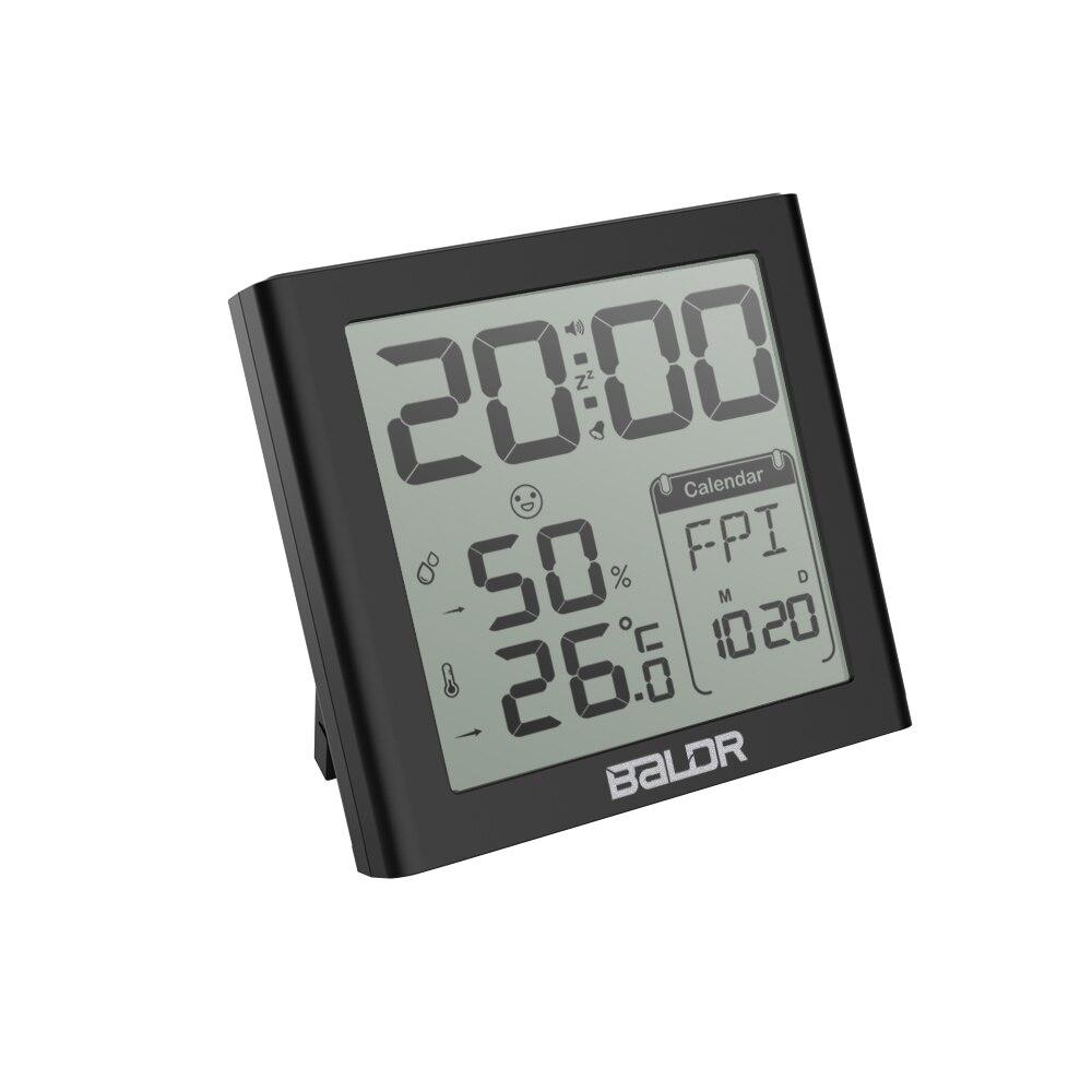 e2011382e83 Calendário de Mesa Balder Digital Relógio Despertador Snooze Temporizador  Interior Quarto Sensor de Umidade Lcd Backlight Termômetro Parede