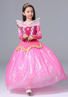 2017 New Arrival Sleeping Beauty Princess Aurora Child Cosplay Costume For Kids Girl Spring Dress Free