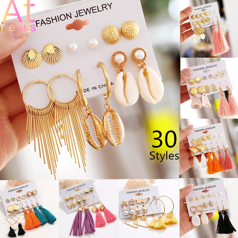 30 Style Natural Shell Metal Long Tassel Stud Earrings Set For Women Girl 2019 Bohemian Geometric Fringe Earring Brincos Jewelry image