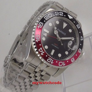 Image 4 - Parnis 40mm relógios mecânicos gmt pepsi bezel relógio automático de aço inoxidável safira relógio de luxo dos homens