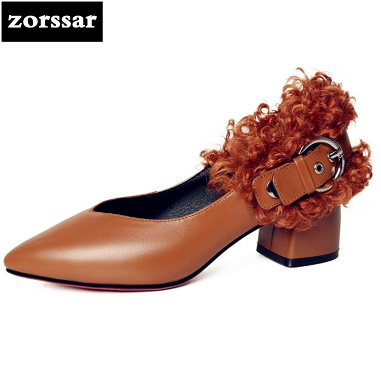 {Zorssar} 2018 New arrival Genuine leather fashion fur Women shoes pointed toe High heels pumps shoes womens Mary Jane shoes цена