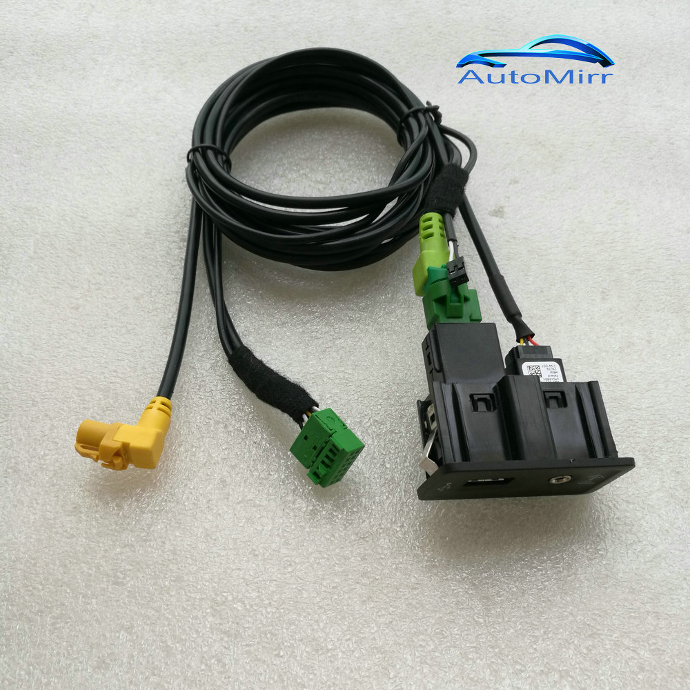 Longate for VW CarPlay Golf 7 MK7 MDI USB Aux AMI Install Plug Socket Harness 5G0 035 222 E 5G0035222E carplay mirror link mib carplay usb aux in socket harness for tiguan l mk2 5q0 035 726 e