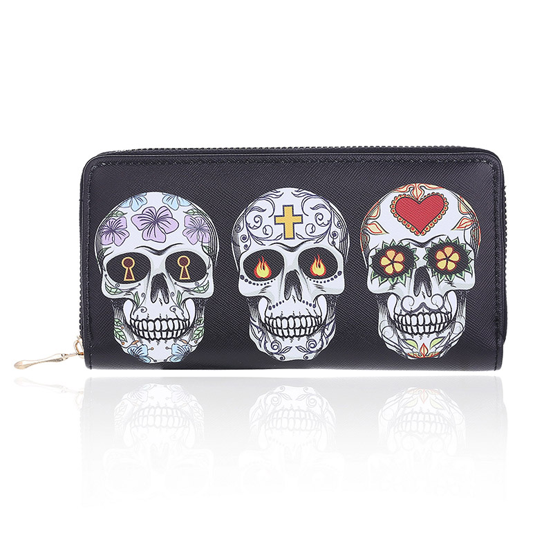 Women Skull Expression Printing Wallet Pineapple Patten Zipper Design Clutch Purse For Ladies Phone Card Holder Big Capacity
