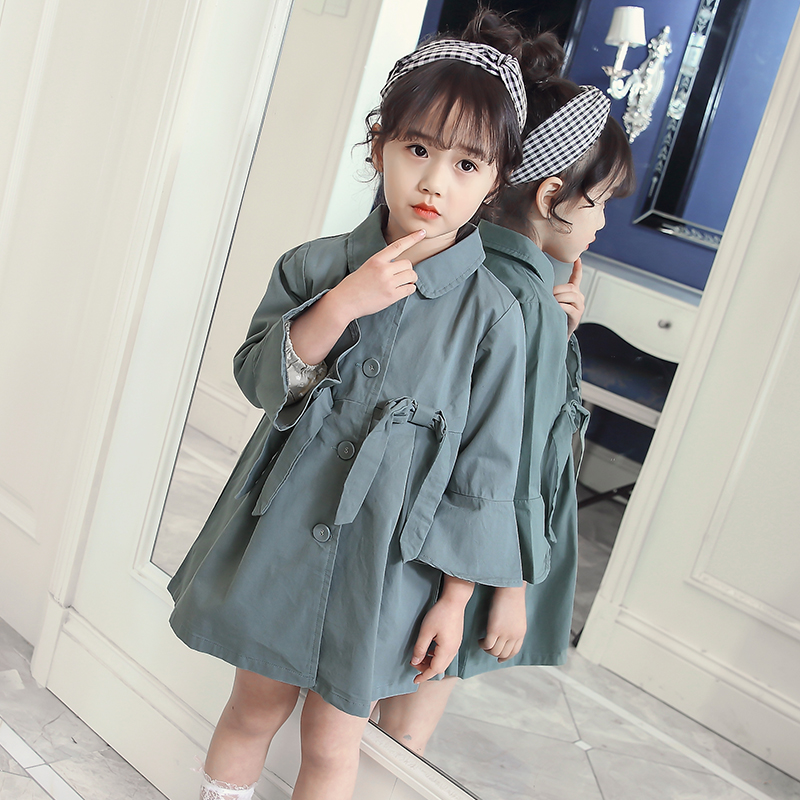 Trench Coats For Girls 2-11 Years Long Sleeve Baby Girl Windbreaker 2018 Autumn Clothes Korean Style Kids Teens Jackets 8 10 11 цена 2017