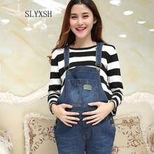 SLYXSH осенние и зимние джинсовые комбинезоны для беременных женщин, джинсовые брюки для беременных женщин, джинсовые брюки с ремнем для беременных женщин