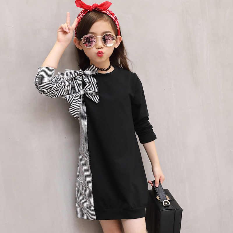 2018 sonbahar moda büyük kız elbise çocuk papyon dikiş çizgili gömlek uzun kollu elbise çocuk sevimli elbise