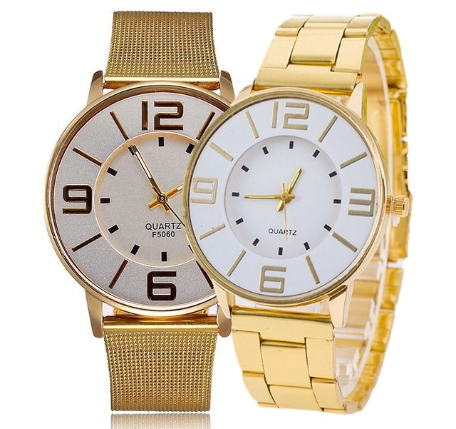 MEIBO Clock Fashion Alloy Metal Double Layer Design Dial Big Number Mesh Watchbelt Dress Quartz Wristwatch Erkek Kol Saati