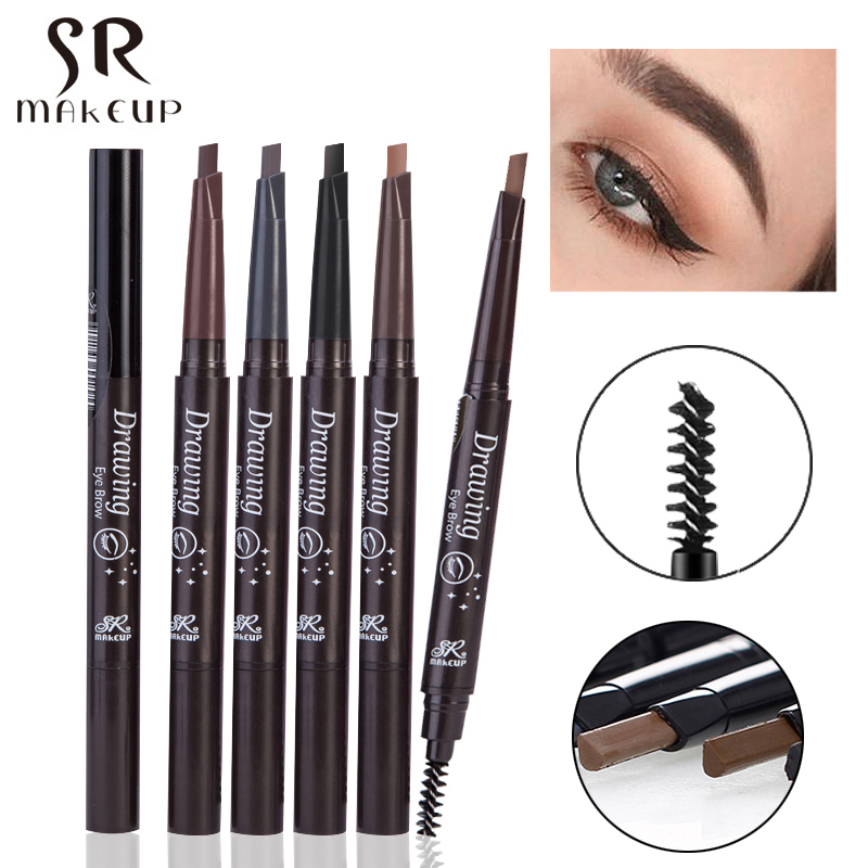 Brand Waterproof Automatic Makeup Eyebrow Pencils Natural Double-end Black Brown Color Long Lasting Eye Brow Pen with Brush