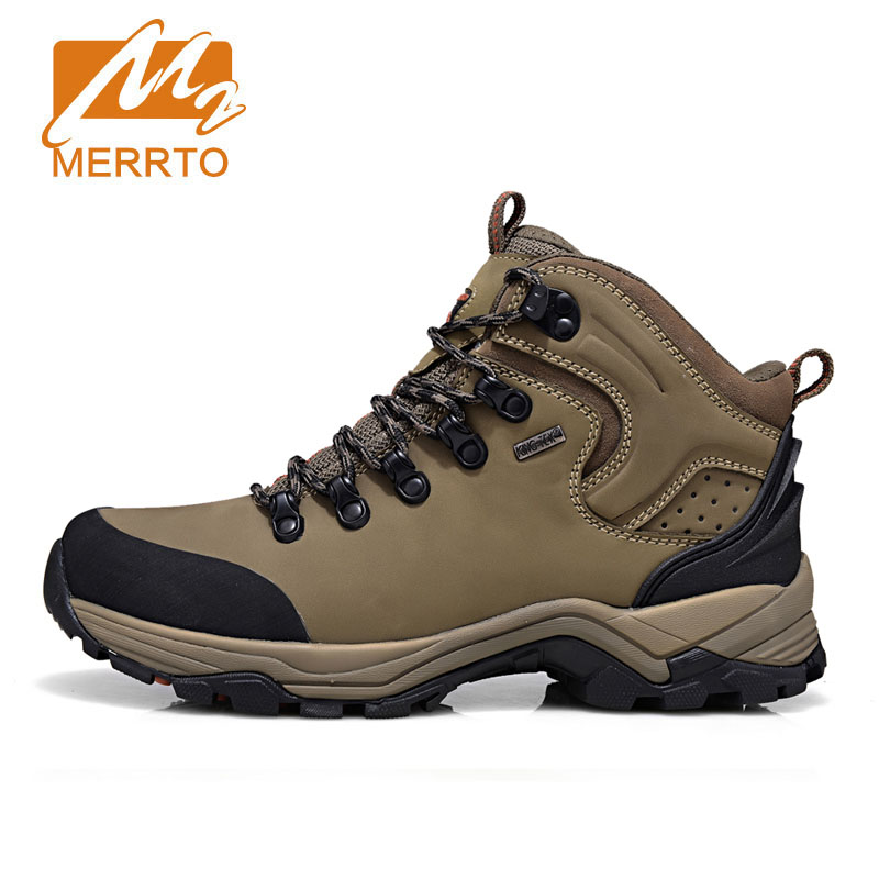 MERRTO Brand Man Skid Proof Sneakers Genuine Leather Waterproof Hiking Camping Sport Shoes Chukka Outdoor Athletic Hiking Shoes kelme 2016 new children sport running shoes football boots synthetic leather broken nail kids skid wearable shoes breathable 49