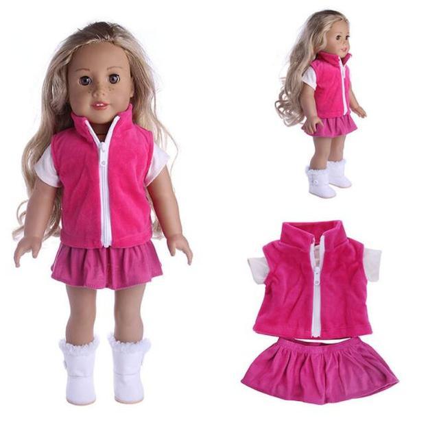 18 Inch American Girl Doll Lovely Fancy Jeans Shirt Pleated Skirt Dress 3Pcs Suit Fit 43cm Baby Born Doll For Children Best Gift
