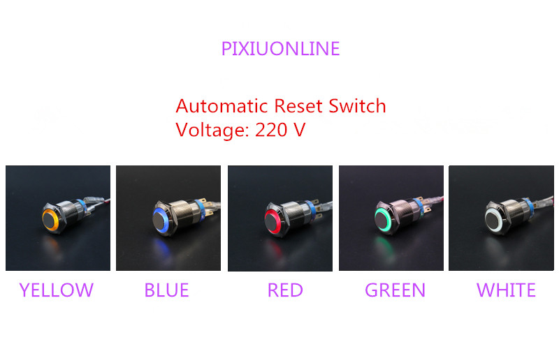 1PCS  YT958  Metal case  Hole Size 19 mm  Automatic Reset Switch Metal push button switch    With LED Light  220V