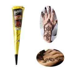 bfeac9760fdd0d 3 sztuk Golecha hinduska Henna tatuaż wklej stożek farba do ciała Menndi  palec ręka tatuaż Henna projekt butelki ciała zestaw fa.