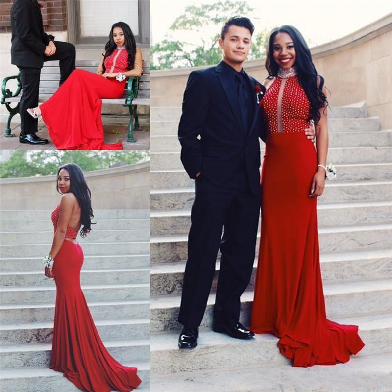 Arabic Black Girls Red Burgundy Chiffon Mermaid Prom Dresses 2017 Sexy Backless Long Party Gowns