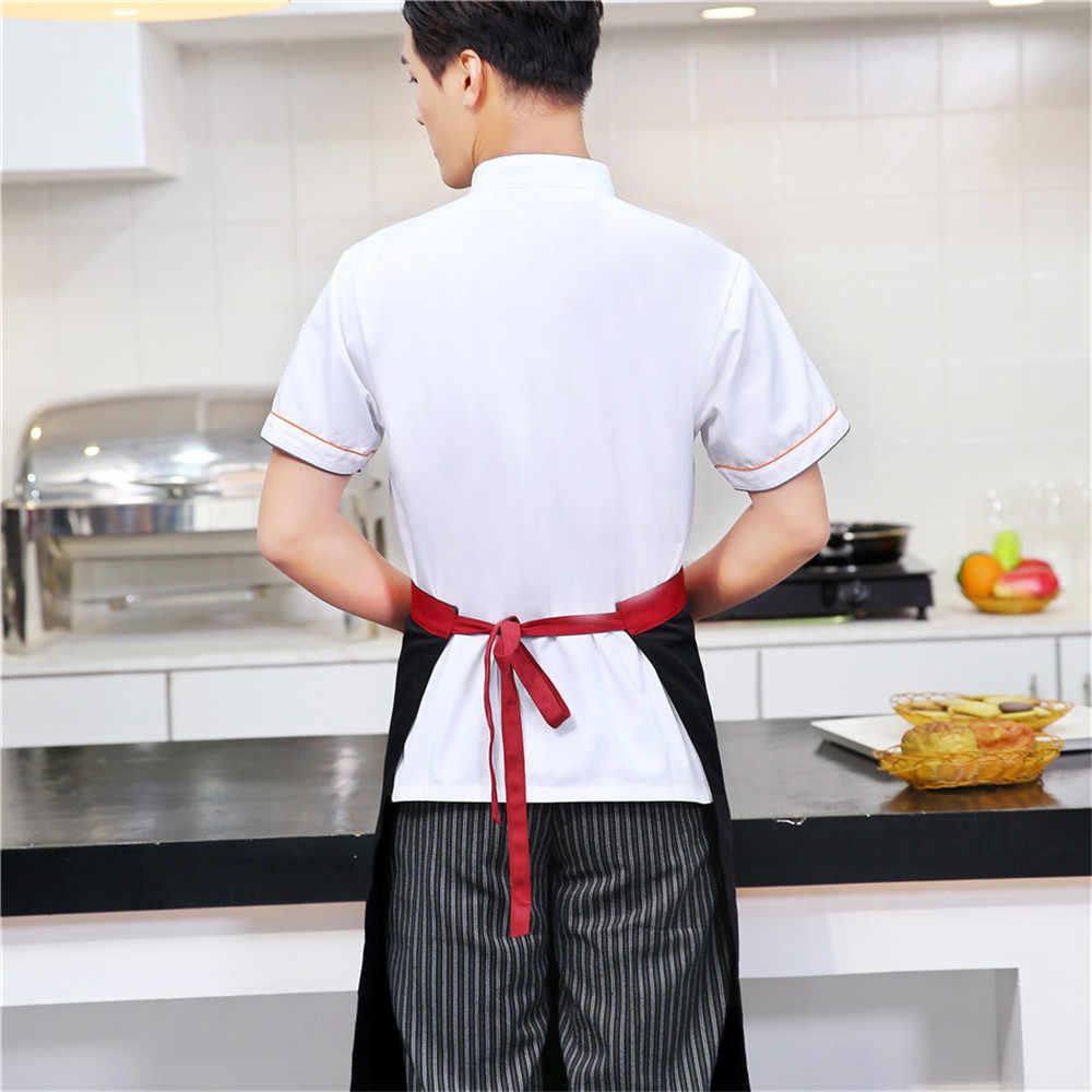 Unisex Rahat Yumuşak Şef Ceketler Kısa Kollu Eğik Yaka Kruvaze Mutfak Catering Restoran Gıda Hizmeti Iş Üniforma