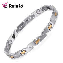 Rainso trend cool women's Jewelry stainless steel bracelet handmade contain energy magnetic stone health bracelet OSB-1547(China)