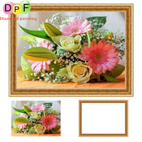 DPF Diamond Painting Cross Stitch Kits Colors Flower 5d Round Full Mosaic Have Frame Diamond Embroidery