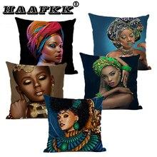 African Woman Portrait Printed Linen Cottton Seat Cushion cover For Sofa Afro Abstract Throw Pillow Case Decorative Pillowcase цена в Москве и Питере