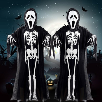halloween costume skull skeleton demon ghost cosplay costumes adults children kids carnival masquerade dress robes scary mask
