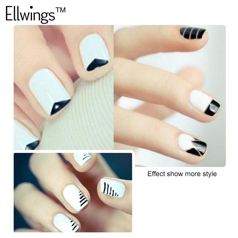 Ellwings Black White French Manicure Gel Nail Polish Stickers Nails ...