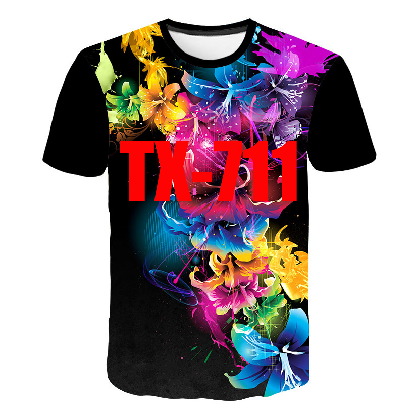 Summer Fashion Menswear/Womenswear Short-Sleeved T-Shirt 3D Digital Beautiful Floral Loose Mesh Quick-Drying Blouse Casual Wear